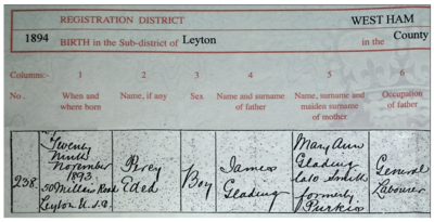 Detail from Percy Glading's birth certificate, cropped, retouched.png