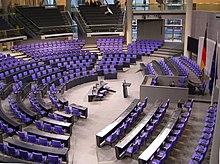 Deutscher Bundestag Plenarsaal, Seitenansicht, via Wikipedia