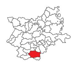 Location of Đakovo in Osijek-Baranja County