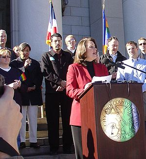Diana DeGette - Diana DeGette, at podium, denounces a proposed amendment to the Constitution to ban gay marriage.