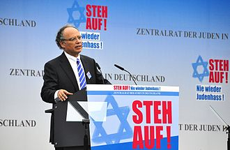 Central Council of Jews in Germany - Dieter Graumann, president of the Central Council of Jews in Germany, addressing a rally against anti-Semitism in Berlin, September 2014