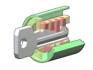 Wafer tumbler lock - When the correct key is inserted, the wafers (red) are raised up out of the lower groove in the outer cylinder, but not so high that they enter the upper groove in that cylinder.