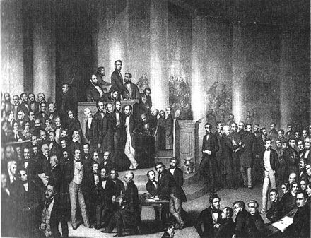 Discussion in the Paulskirche. Lithograph after a painting by Paul Bürde