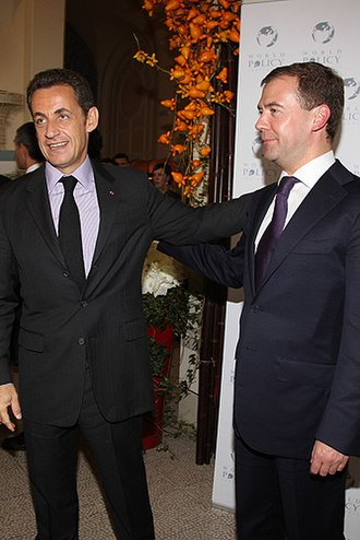 France–Russia relations - Russian president Dmitry Medvedev (right) and French president Nicolas Sarkozy in 2008.
