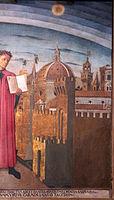 Domenico di michelino, Dante con in mano la Divina Commedia, 1465, 04 veduta di firenze.JPG