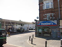 The exterior of a Domino's Pizza store in North London, England.