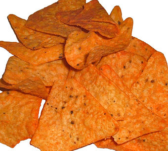 Nacho cheese Doritos, like many popular snack foods, contain Yellow 6, Yellow 5 and Red 40 synthetic food colour. Doritos.jpg