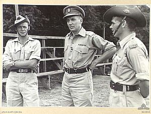 Ivan Dougherty - Brigadier Ivan Dougherty, Commander 21st Brigade (centre), with Major L. E. Walcott and Captain H. M. Hamilton (right) in December 1944