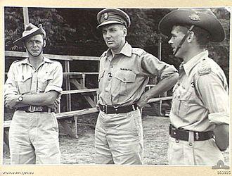 Ivan Dougherty - Brigadier Ivan Dougherty, Commander 21st Brigade (centre), with Major L. E. Walcott and Captain H. M. Hamilton (right) in December 1944