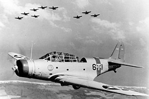 Douglas TBD Devastator of VT-6 in flight, 1938 (80-G-19341).jpg