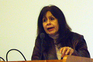 Ghada Karmi - Dr. Ghada Karmi in a lecture in the University of Manchester during the Anti-Apartheid week 2008
