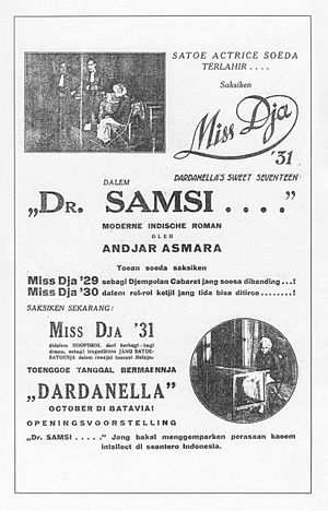 Andjar Asmara - Advertisement for the premiere of Andjar's stageplay, Dr Samsi