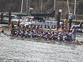Dragon boats pulling out to race at 2008 SFIDBF 08.JPG