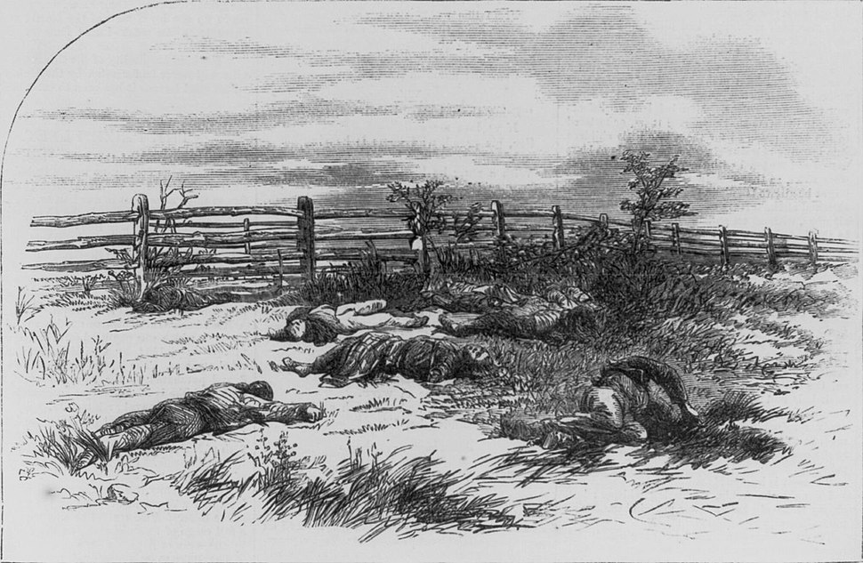 Drawing of Dead Soldiers on Antietam battlefield