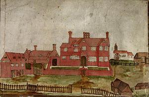Greenham - Drawing of Greenham Manor House, circa 1700.