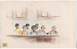Drawing of jurors consisting of four African American men and women, two white men or women, and one elderly white man. 21