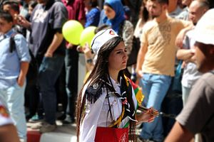 Scouting and Guiding in Palestine - Drummer from the Arab Orthodox Scout Group of Gaza during a procession in Ramallah