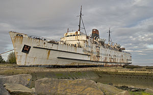 TSS Duke of Lancaster (1956) - Image: Duke of Lancaster beached, 2010