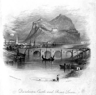 Dumbarton Castle - Dumbarton Castle, 1836 engraving by William Miller after J M W Turner