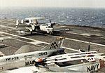 E-2B Hawkeye of VAW-126 lands on USS Forrestal (CVA-59) c1973.jpg