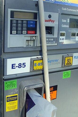 E85 - E85 fuel dispenser at a regular gasoline station