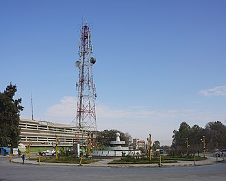 Telecommunications in Ethiopia - Ethio Telecom building and antenna mast in Mekelle
