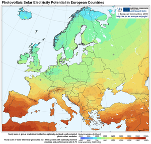 Map of solar electricity potential in Europe