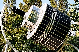 Satellite imagery - Model of a first generation Meteosat geostationary satellite.
