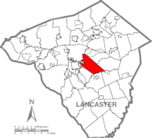 Map of Lancaster County, Pennsylvania highlighting East Lampeter Township