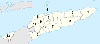 Politics of East Timor - Map of the districts of East Timor.