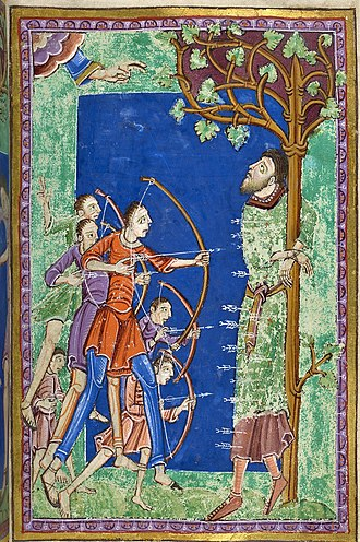 Edmund the Martyr - A medieval illumination depicting the death of Edmund the Martyr on 20 November 869 by the Vikings.