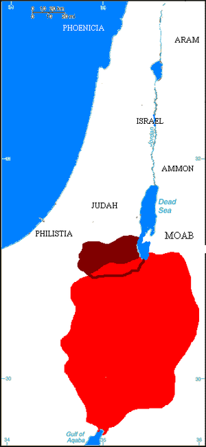 Edom - Map showing kingdom of Edom (in red) at its largest extent, c. 600 BC. Areas in dark red show the approximate boundary of classical-age Idumaea.
