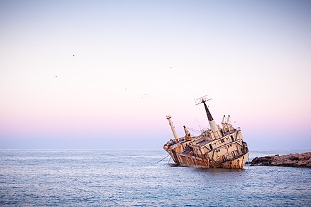 Edro III shipwreck at sunrise, Coral bay, Paphos, Cyprus