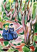 Edvard Munch - Two women in the woods at Ekely (1920–23).jpg