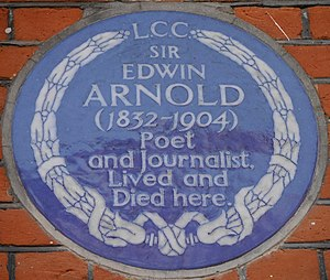 Edwin Arnold - Blue plaque, 31 Bolton Gardens, Kensington, London