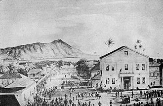 "Honolulu Courthouse riot - ""The Election Riot of 1874"", by Peter Hurd."