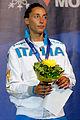 Elisa Di Francisca podium 2013 Fencing WCH FFS-IN t204538.jpg
