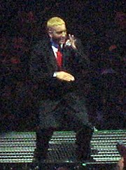 Photograph of Eminem performing live.
