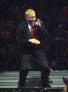 Eminem performing at the Anger Management Tour in 2005.