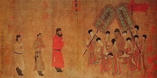 <i>Emperor Taizong Receiving the Tibetan Envoy</i> painting by Yan Liben