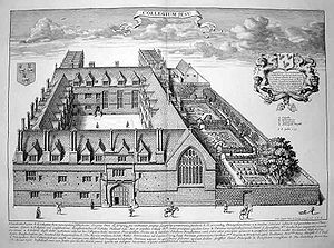 A bird's-eye illustrated view of a college, with a quadrangle of buildings in front and an incomplete quadrangle behind. There are gardens to the right of the buildings.