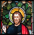Enniscorthy St. Aidan's Cathedral East Aisle Second Window Evangelist Luke Detail 2009 09 28.jpg