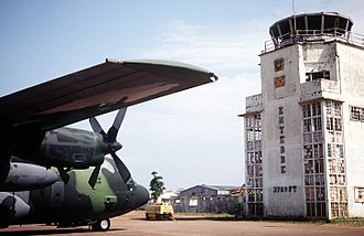 Operation Entebbe - A C-130 Hercules in front of the old terminal in 1994. Bullet holes from the 1976 raid are still visible.