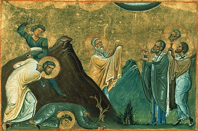 26 juillet Saint Eraste de Corinthe 640px-Erastus%2C_Olympus%2C_Rhodion%2C_Sosipater%2C_Quartus_and_Tertius_%28Menologion_of_Basil_II%29