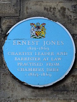 Ernest jones (1819   1869) chartist leader and barrister at law practised from chambers here c1863   1869