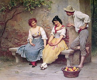 Flirting - The Flirtation by Eugene de Blaas. A study of body language: a man flirting