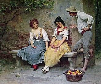 Flirting - The Flirtation by Eugene de Blaas. A study of body language: a man flirting
