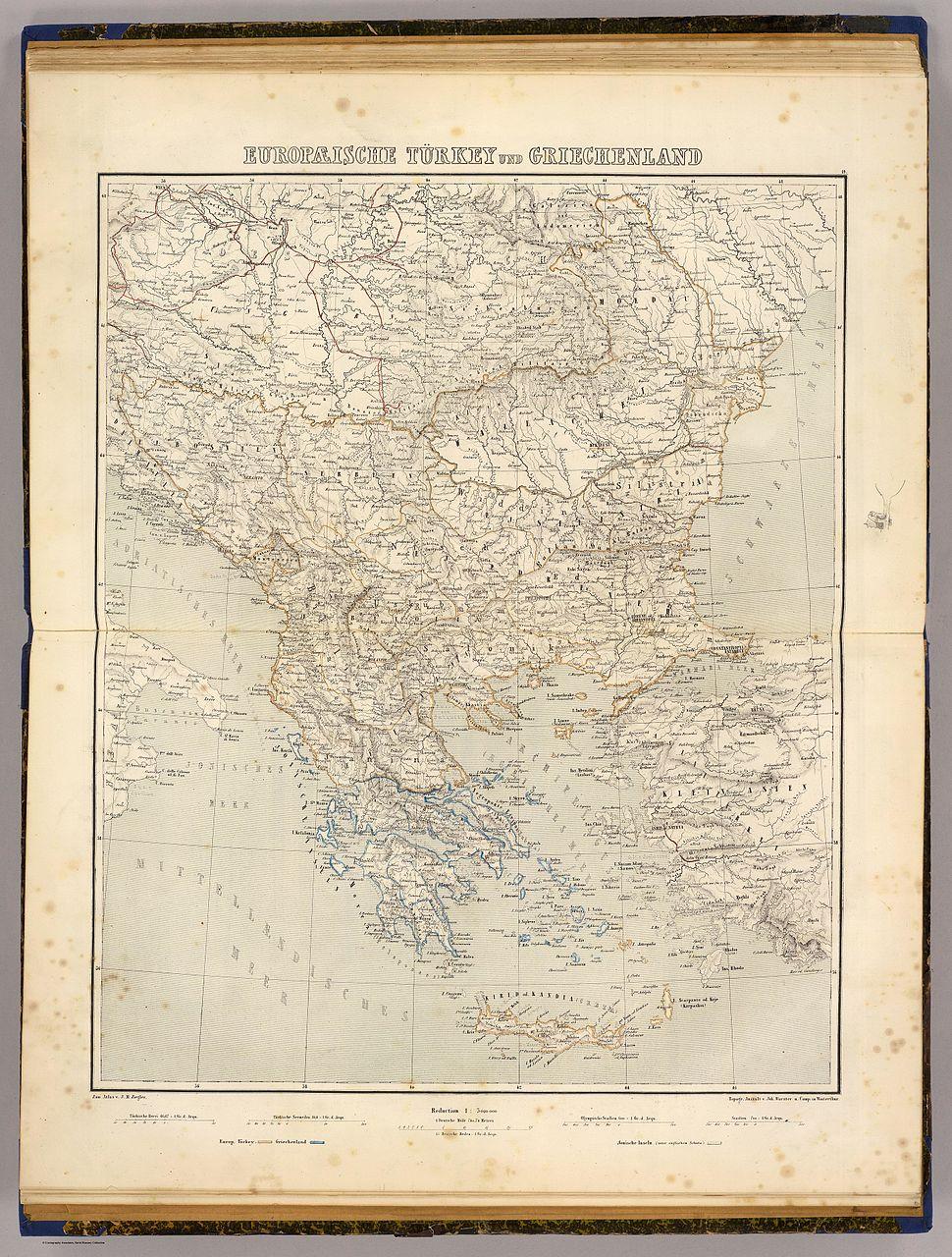 Europaeische Turkey und Griechenland. Zum Atlas v. J.M. Ziegler. Topogr. Anstalt v. Joh. Wurster u. Comp. in Winterthur. (1864)