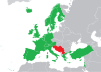 "Regular participants in 1992. ""Yugoslavia"" is coloured in red: 1991 was the last year in which that nation participated under one name."