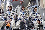 Expedition 47 backup crew members in front of the Soyuz TMA spacecraft mock-up in Star City, Russia.jpg